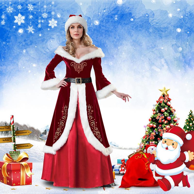 HAT MISS CLAUS MRS SANTA VELVET FANCY MINI DRESS CHRISTMAS XMAS FANCY COSTUME