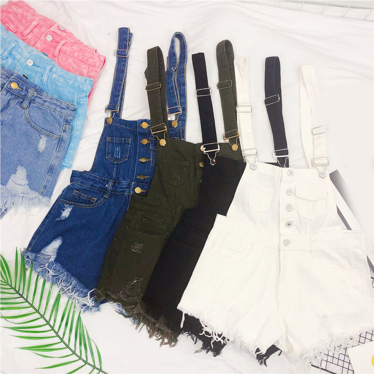 The new loose-fitting Korean version of the springsummer 2017 denim suspenders for female students shows a trend of slim, worsted fringed tassel shorts (3)