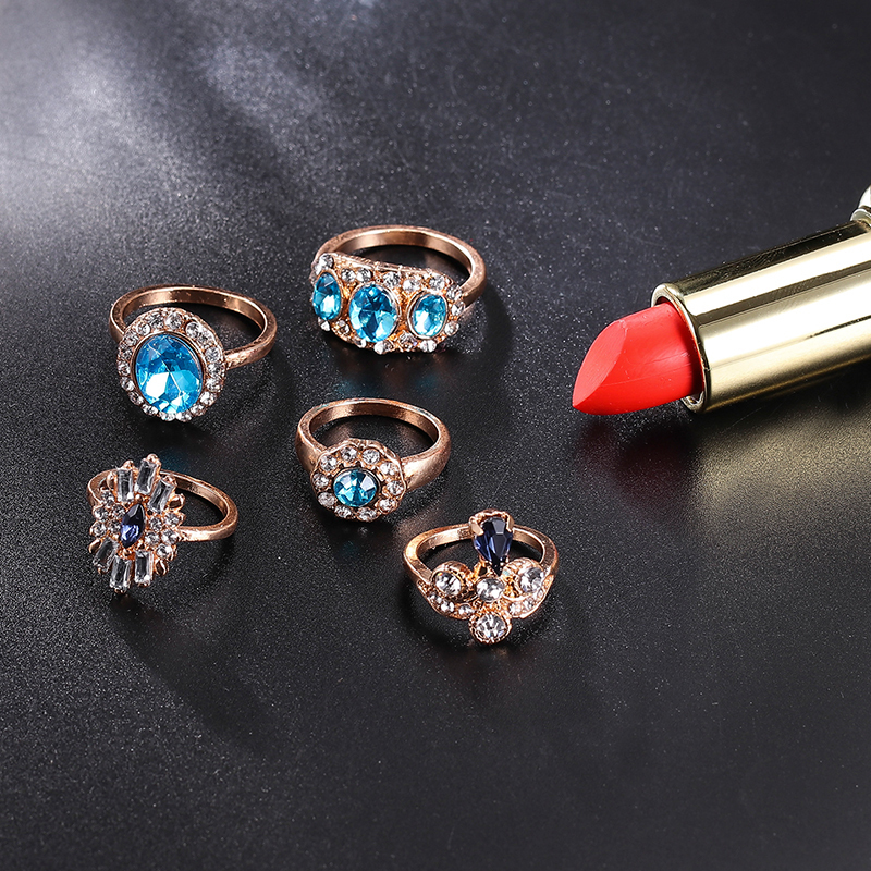Delicate Luxury Women Blue Crystal Geometry Round Water Drops Irregular Flower Ring Set Charm Party Wedding Jewelry