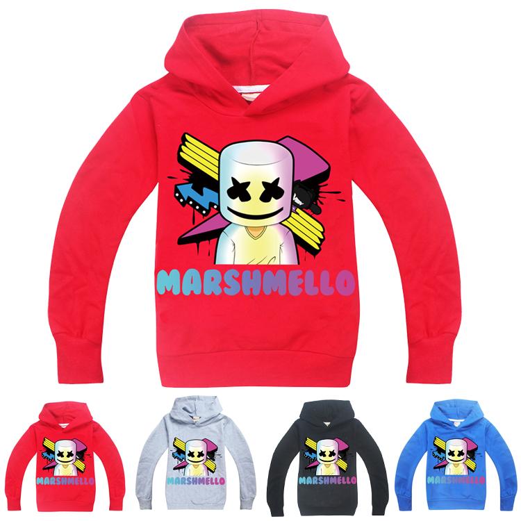 UK Kids Boys DJ Marshmello Mask Music Hoodie Casual Sweater Jumper Tops T-Shirts