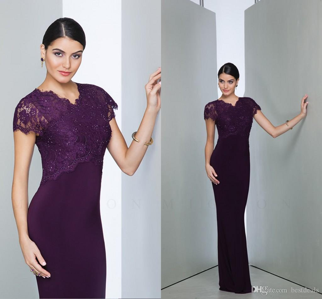 Grape Lace Beads Mother Of The Bride Dresses 2016 Elegant V Neck Short Sleeves Sheath Long Chiffon Mother Dresses Evening Gowns BO9896