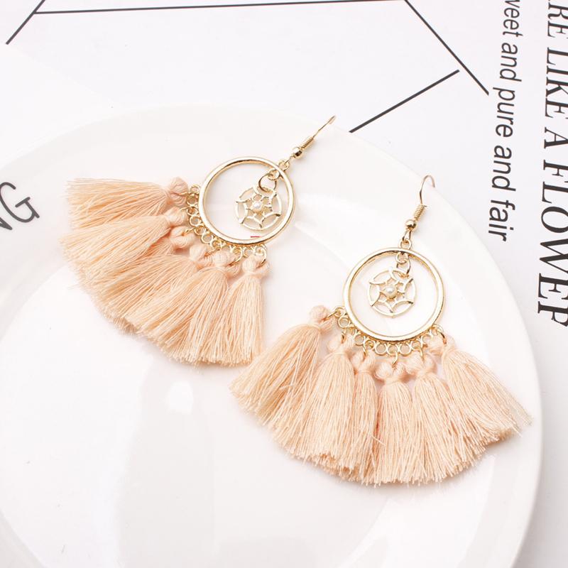 bohemian Round hollowing Colorful tassel earrings for women Vintage fringe dangle drop earrings 2019 women brincos boho jewelry Gift