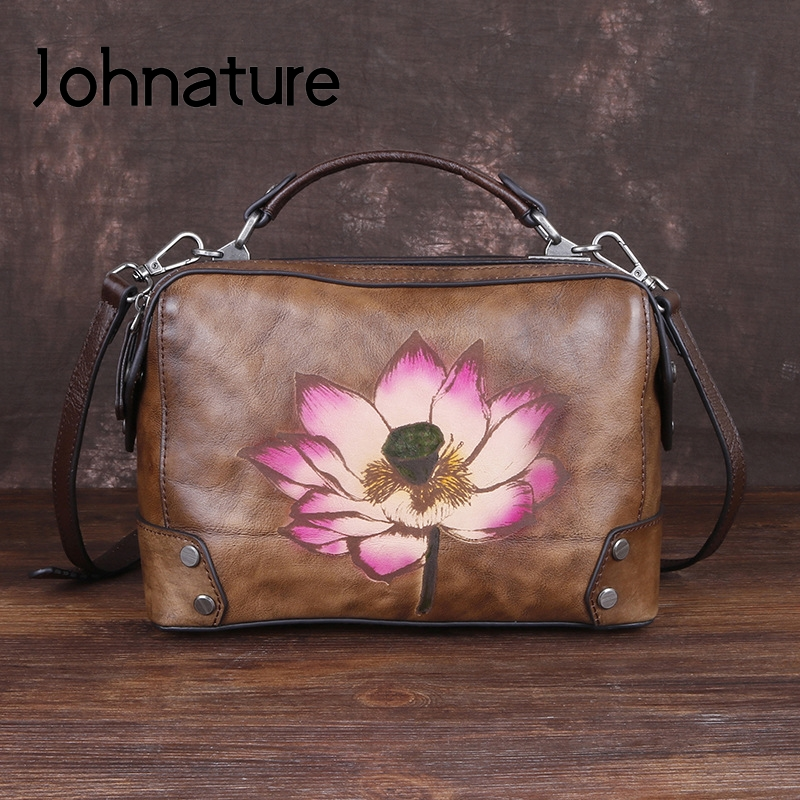 Multi Color Flowers Genuine Leather Shoulder Bag Hand Painted Shopper Tote Women