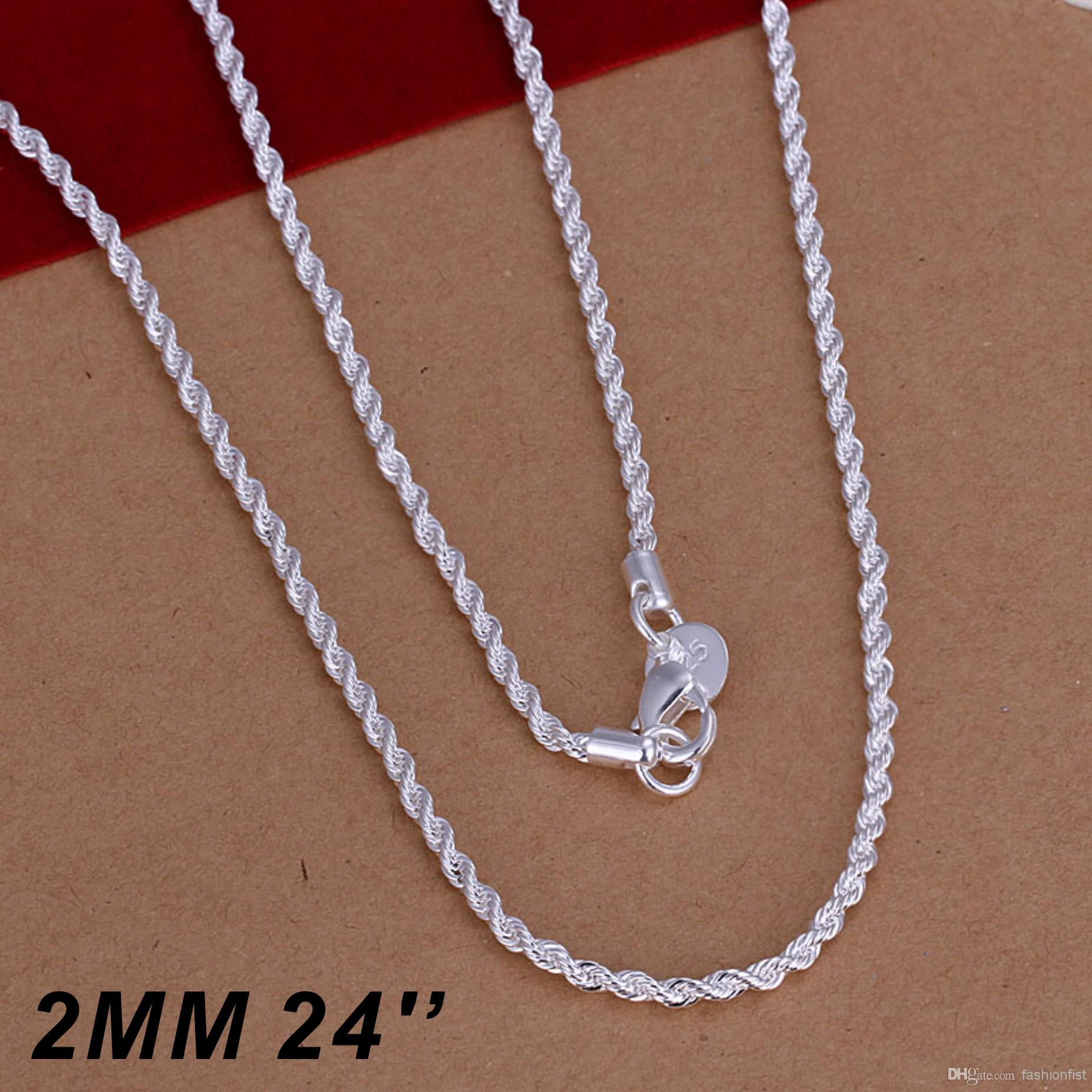 Top Quality 925 Sterling Silver Men Women Twist ROPE Chain Necklaces 2MM 16inch/18inch/20inch/22inch/24inch