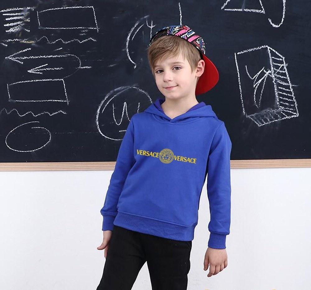 Kids Brand Hoodies Customized In Children Even Hat Shirt Pure Color Sleeve Head New Product Plus Cashmere Male Girl winter clothes