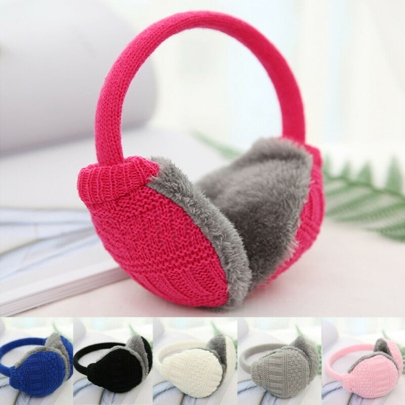 EB/_ Women Men Winter Round Plush Ear Pad Back Wear Warmers Earmuffs Solid Headba