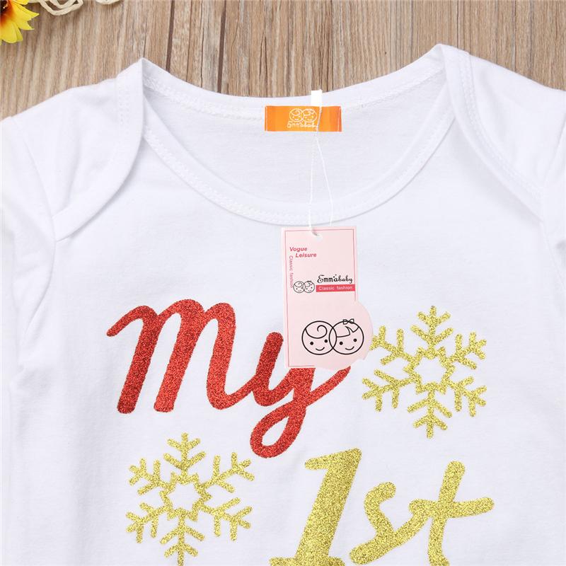 Yenidoğan Bebek Kız Giyim Seti Yürüyor Çocuk Benim Ilk Noel Bodysuit Ekose Parti Tutu Etek Pullu Bow Kafa 3 Adet Kıyafet Y18120801
