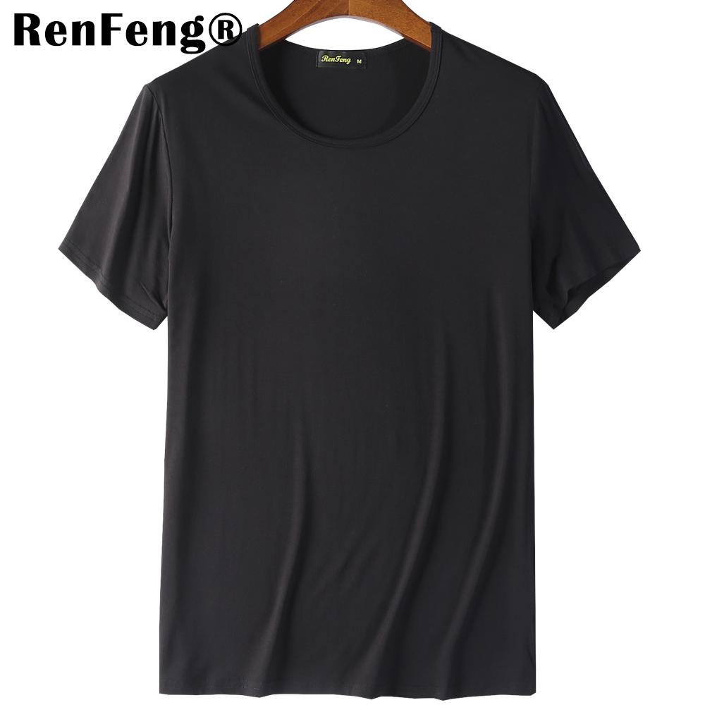 2018 Cool T Shirt Men 95% Bamboo Fiber Hip Hop Basic Blank White T-shirt For Mens Fashion Tshirt Summer Top Tee Tops Plain Black (6)