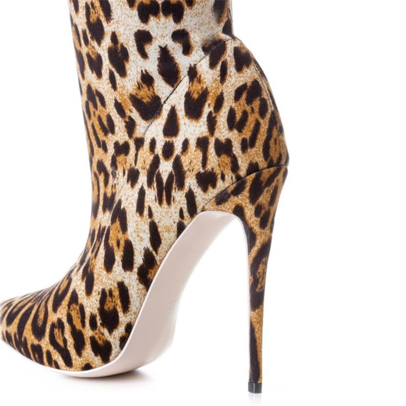 Zk Bayan Ayakkabı 12 cm Yüksek Topuklu Çizmeler Seksi Leopar Diz Çizmeler Üzerinde Baskı Çin Size34 - 46
