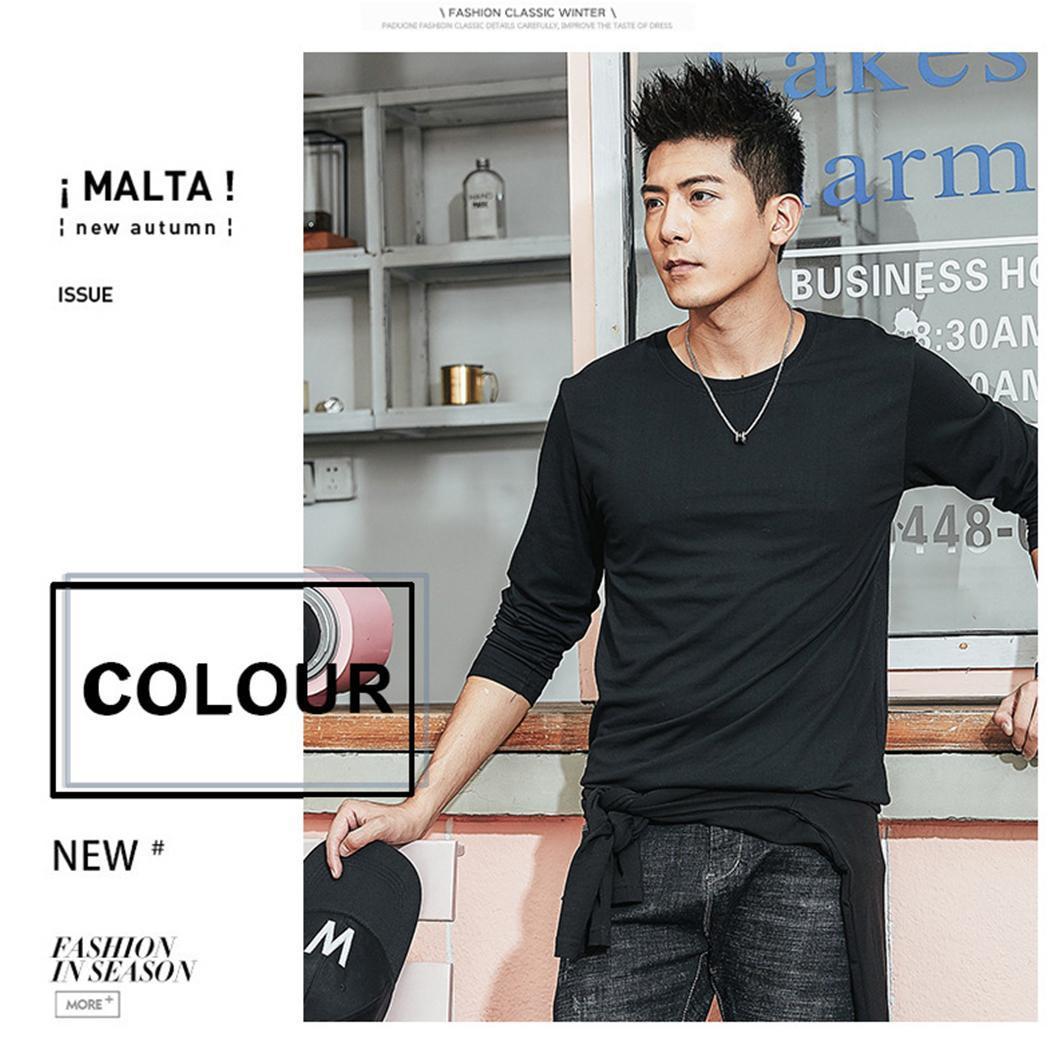 Новая мода мужчины повседневная футболка мульти-размер многоцветный с длинным рукавом основные рубашки мода топы футболки