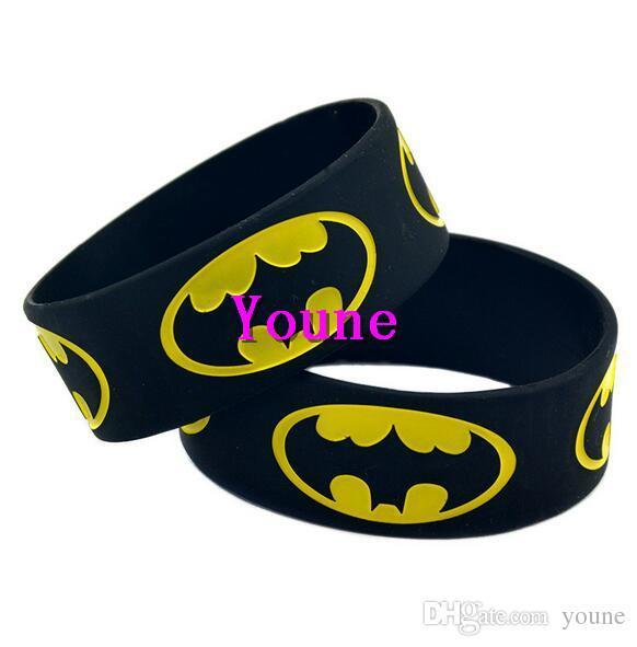 Hot! 1 Wide Band Batman Silicone Wristband, An Alternative Style Bracelet For Animation Fans
