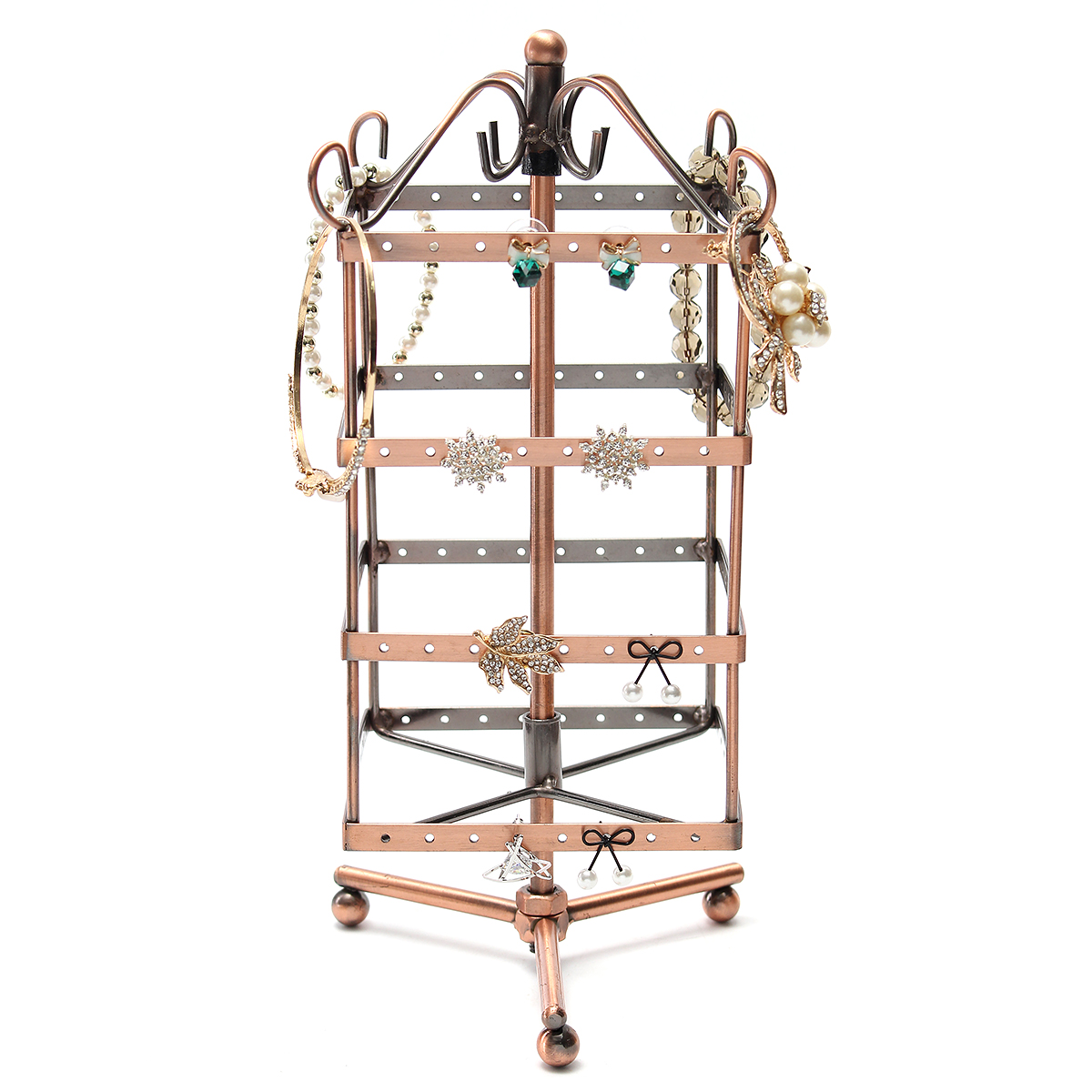Retro Multifunctional Metal Rotating Jewellery Display Stand Earring Necklace Hook Holder Hanger Display Stand Holder