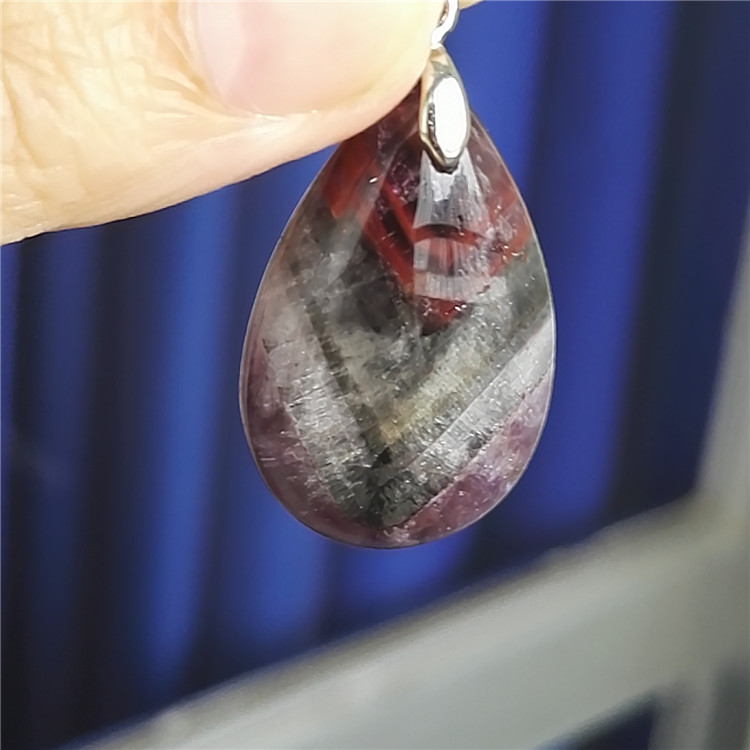 Genuine Purple Red Natural Cacoxenite Auralite 23 Gemstone Crystal Water Drop Pendant