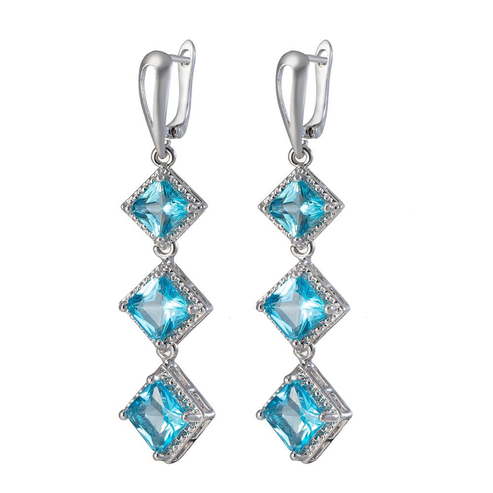 Grossiste Boucles d`Oreilles Argenté Chandelier Art Deco Bleu Turquoise Retro C2