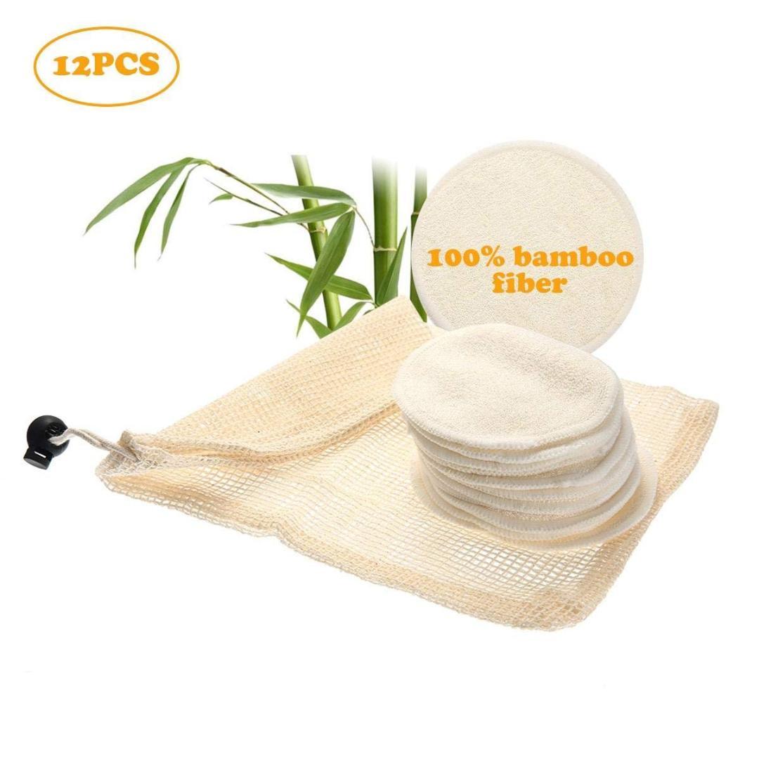 12pcs Sac lavable r/éutilisable Lazy nettoyage serviette nettoyante pour le visage Pad bambou coton lingettes visage D/émaquillant Pads