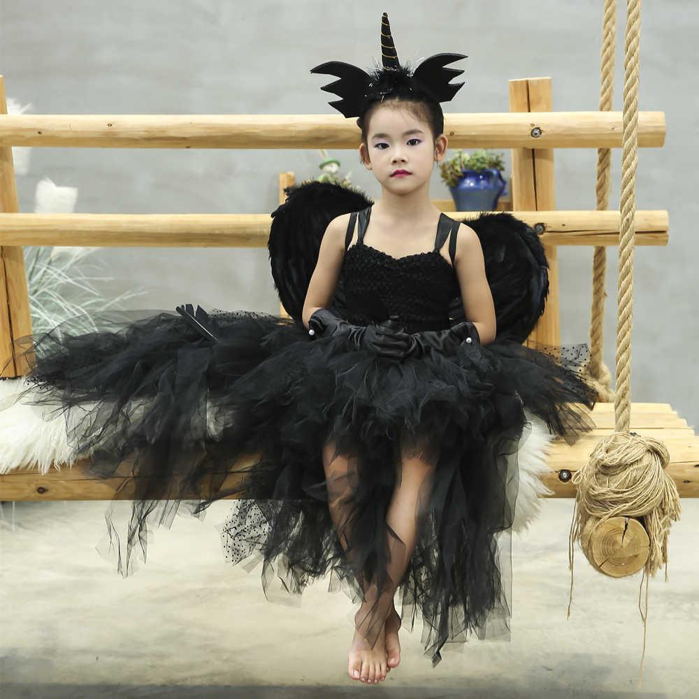 Black Angel Tutu Dress Before Short After Long Tulle Girl Dress Tail Kids Pageant Evening Party Dress Girls Halloween Costume J190505