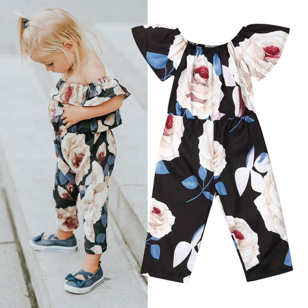 Baby Kids Girls Off-shoulder Floral Jumpsuit Romper Sunsuit Outfit Clothes Sale