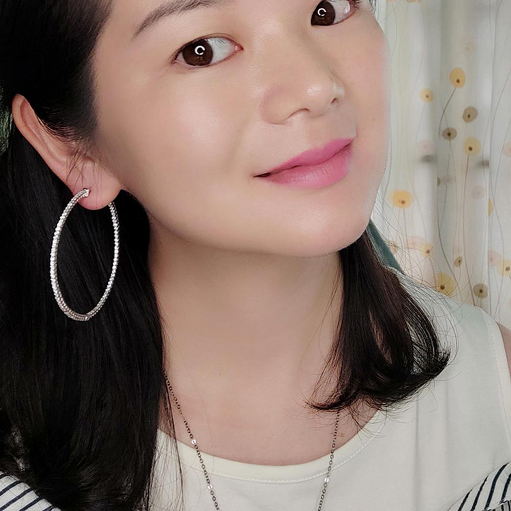 Big real silver hoop earrings (2)