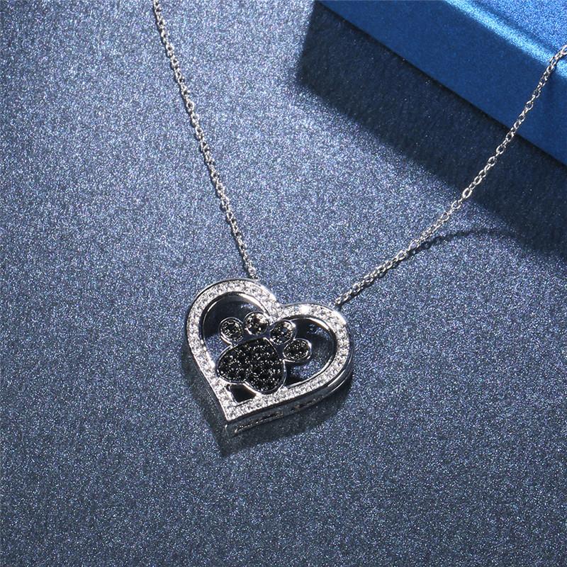 Acheter Bijoux De Mode En Gros Coeur Noir Et Blanc Cubique Zircone Argent Collier Pendentif Pour Les Femmes Mariage Amour Cadeau P2121 De 1237 Du