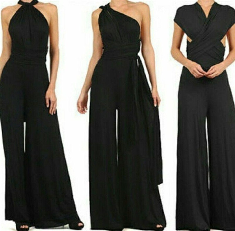 Raisevern Verband Sexy Overall Boho Strampler Frauen Overall 2019 Elegante Sommer Overall Multi Way Wear Wrap Hochzeit Y19071701