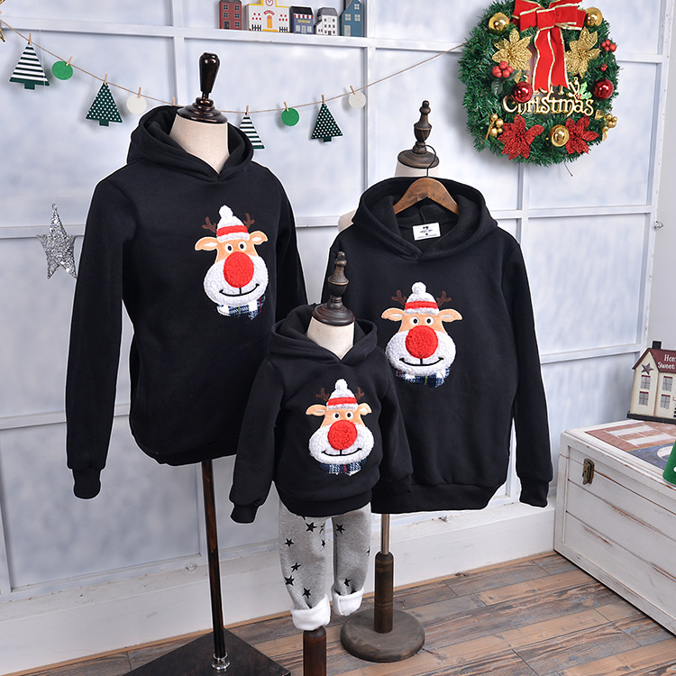 Family Matching Outfits 2019 Winter Christmas Sweater Cute Deer Children Clothing Kid T-shirt Add Wool Warm Family Clothes P003