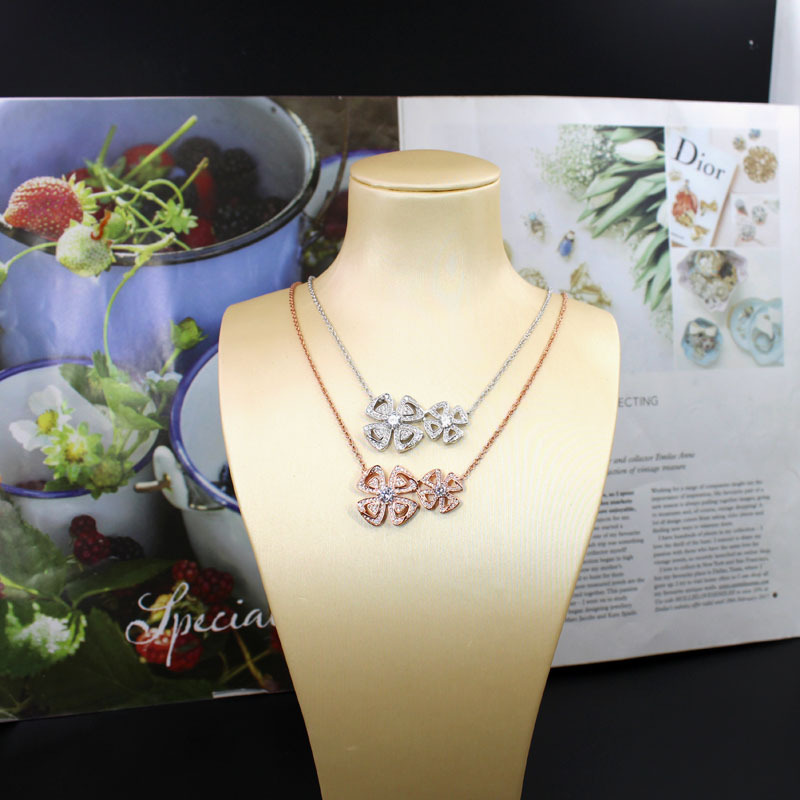 European Cross Border New Product Chanting Series Heng Heng Double Flower Necklace Micro Zirconium Shi Dujin Can Adjust Ma'am Clavicle Chain