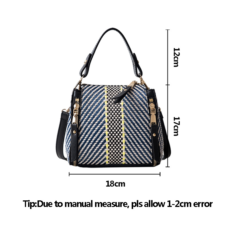 Hot Women Panelled Handbag INS Popular Female Casual Summer Straw Bags Lady Beach Shoulder Bag Fashion Travel Woven Tote SS7221 (17)