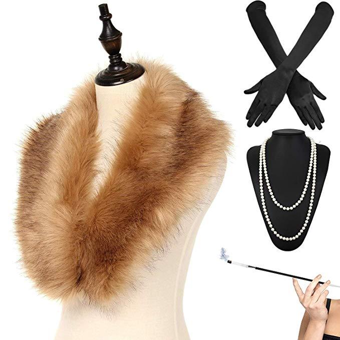Damen Flapper Stirnband Handschuh Fluffy Federboa Set Party Fancy Dress