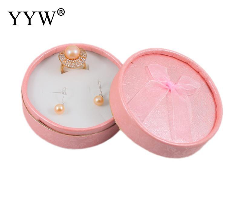 24 pçs / saco 55x39x55mm Caixa Organizador de Jóias Caixa de Armazenamento Caixa de Presente de Brinco Anel de Dedo Pequeno para Brincos Anel Cor Rosa Redonda