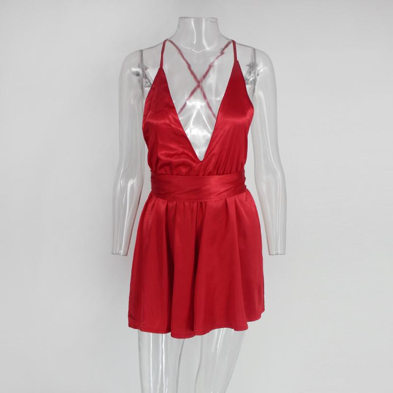 Tobinoone Backless Jumpsuit Romper Women Lace Up Halter High Waist Short Overalls Sexy V Neck Wide Leg Summer Jumpsuit Y19051601