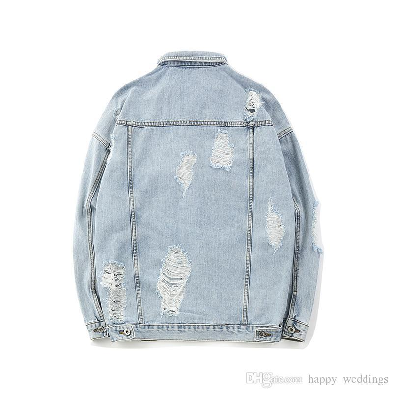 Brand Nice Autumn Fashion Japanese Style Hole Male Denim Jacket Coats Men Hip Hop Streetwear Graffiti Jeans Jackets