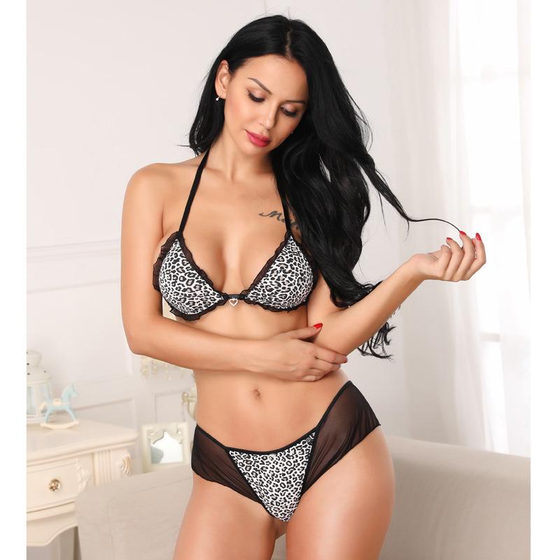 Mulheres Underwear Leopardo Diamante Pingente Ruffles Lolita Fio Livre Sutiã Tanga Conjunto de Strass Lingerie Sexy Sutiãs e Conjuntos de Calcinha para