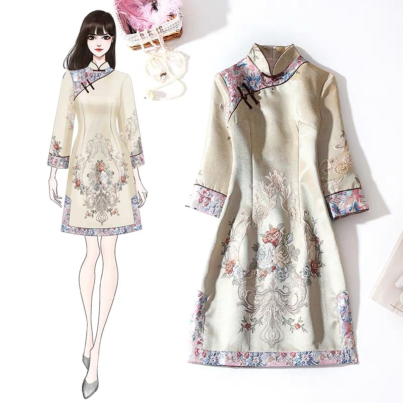 China Palaeowind China Palaeowind Female Spring And Summer Embroidery Slim Dress White Dress