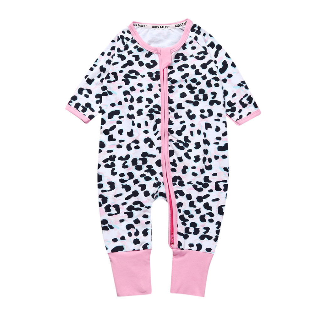 2018 spring autumn unisex baby costume o-neck leopard print one-piece jumpsuit newborn baby girl clothes Infant baby boy rompers