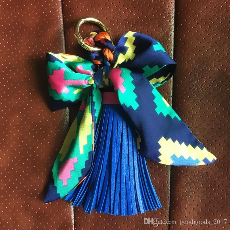 Creative Bowknot Flower Tassel Keychain Car Key Ring Bag Pendant Available Material Superman Keychain Backpack accessories mk667