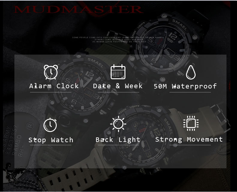 5 sport wrist watches stopwatch