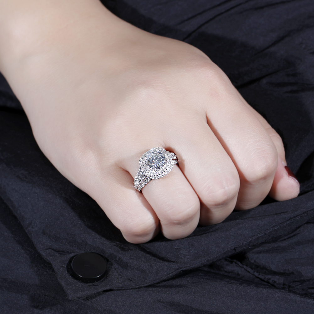 moissanite double halo engagement ring (4)