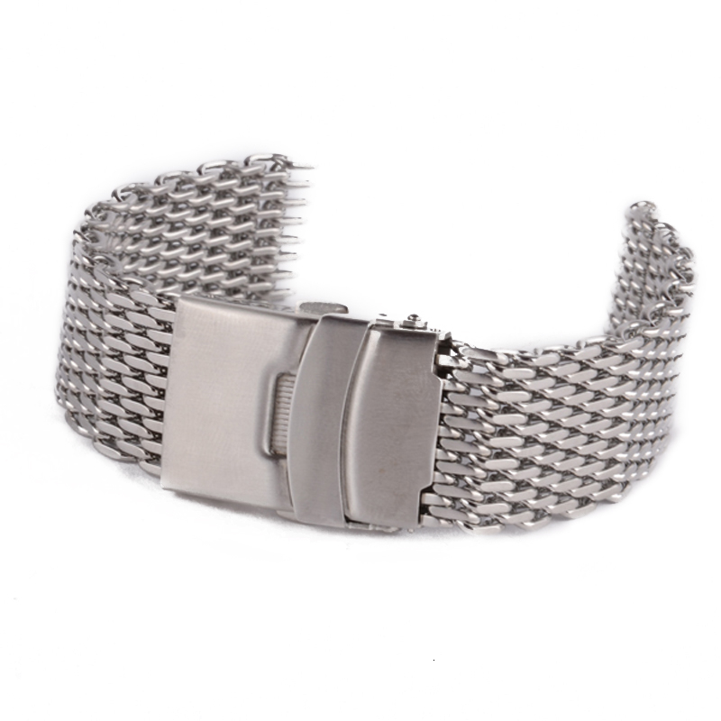 Shellhard Stainless Steel Watch Strap Silver Bracelet Wrist Band Straight End Mesh Watch Band Strap 18mm,20mm,22mm,24mm