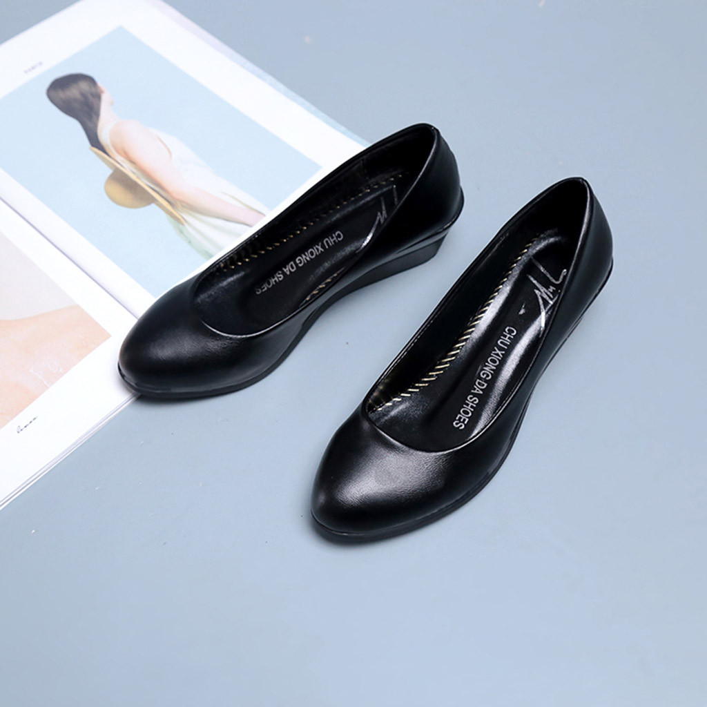 Dress Shoes Slip On Round Toe Wedges For Women Pumps Wedge Women Ol Pumps Spring Mid Heels Offical Comfortable Size 35-41