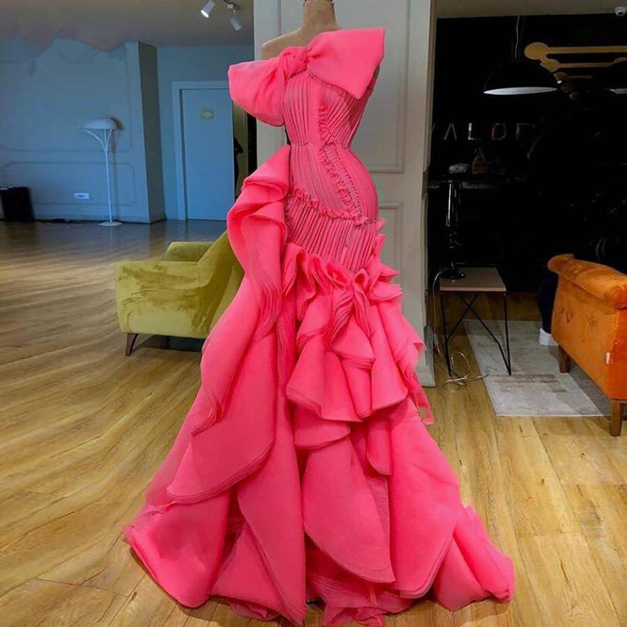 10 New Hot Pink Ruffles Nixe-Abschlussball-Kleider 10 Echt Bild  elegante lange Abendkleider großer Bogen-Mode formale Partei-Kleid