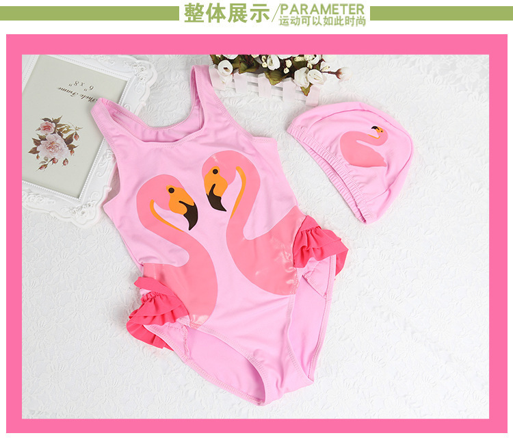 Comfortable Swimsuit For Kids Children Child With Swimming Cap Hat Bathing Suit Babies Girls One Piece Set Cute Swimwear Princess Wear 6.5