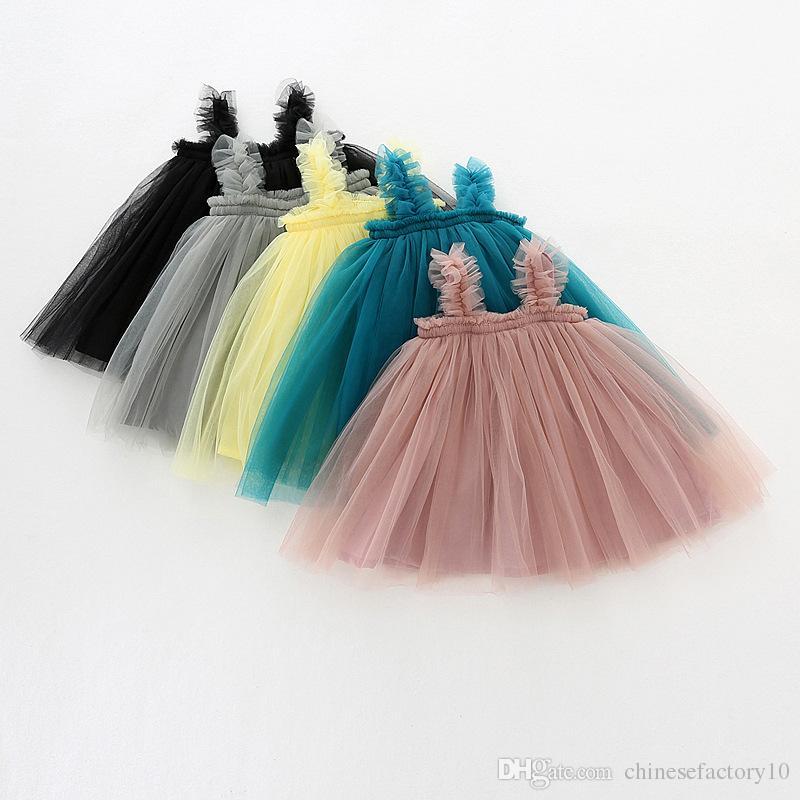 Baby Girl Tutu Dresses Kids Sling Gauze Skirt Summer Party Elegant Solid Color Agaric Lace