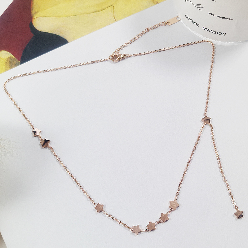 b69b905ae67 Five-pointed Star Rose Gold Necklace Women Woman Joker Concise Necklace  Neck Ornaments Choker Short