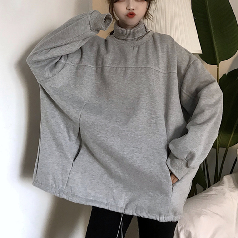 Solid Hoodies Women Tops Harajuku Female Sweatshirts Turtleneck Black Patchwork Hoodies Autumn Winter Trendy Student Sweatshirts