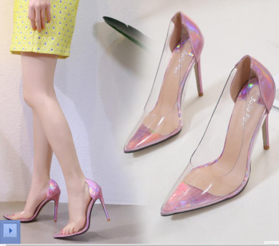 Transparent shoes European Americanladies night club high heels multicolor shoes