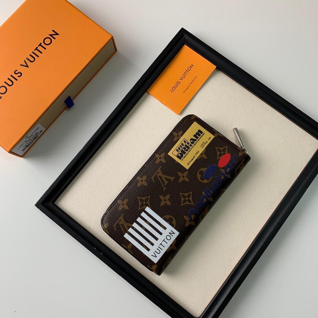 2019 nueva marca monedero marrón estilo de viaje de impresión con cremallera bolso de cuero bolsos monederos mujeres bolso de mano titular de la tarjeta ABD-8