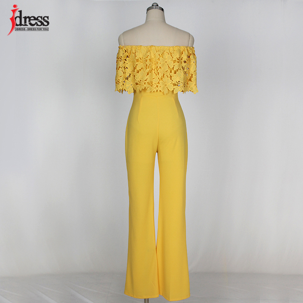 IDress Lace Crochet Rompers Women Jumpsuit Sexy Strapless Bodycon Jumpsuit Wide Leg Black White Yellow Long Pant Romper Overalls (7)