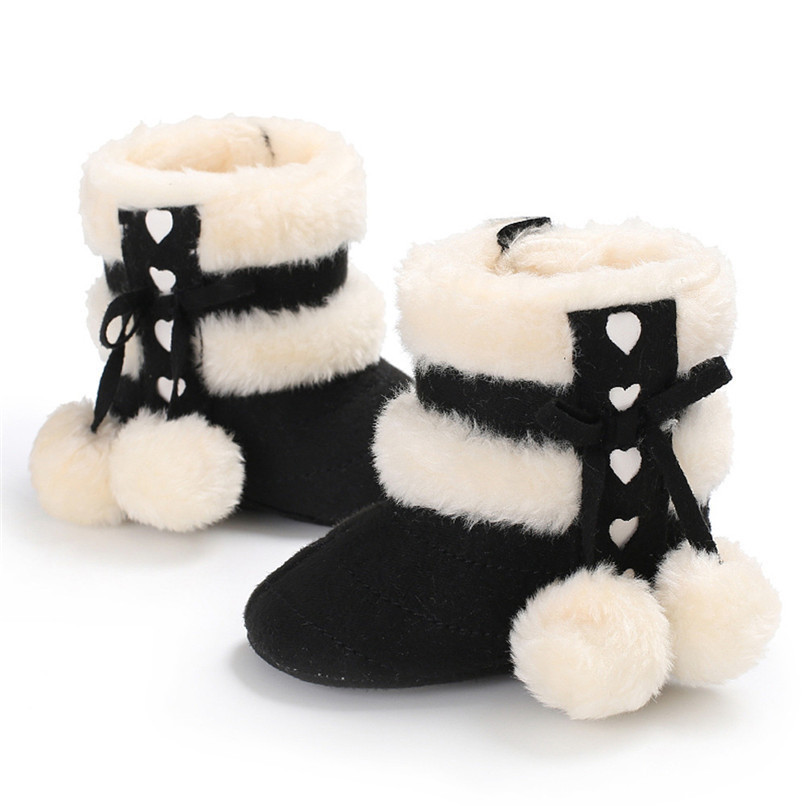 1 Pair Baby Girl Boots Baby Girl Bowknot Ball Soft Sole Snow Boots Soft Crib Shoes Toddler winter Boots bota infantil D10 (2)