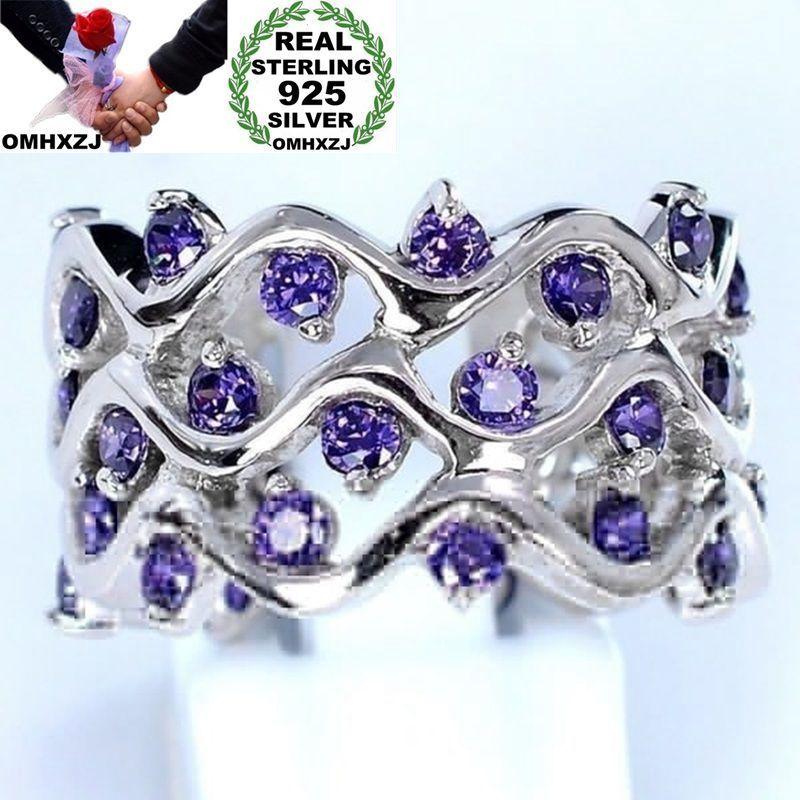 OMHXZJ Toptan Avrupa Moda Kadın Kız Parti Düğün Hediye Gümüş Mor Dalga Ametist 925 Ayar Gümüş Yüzük RR16