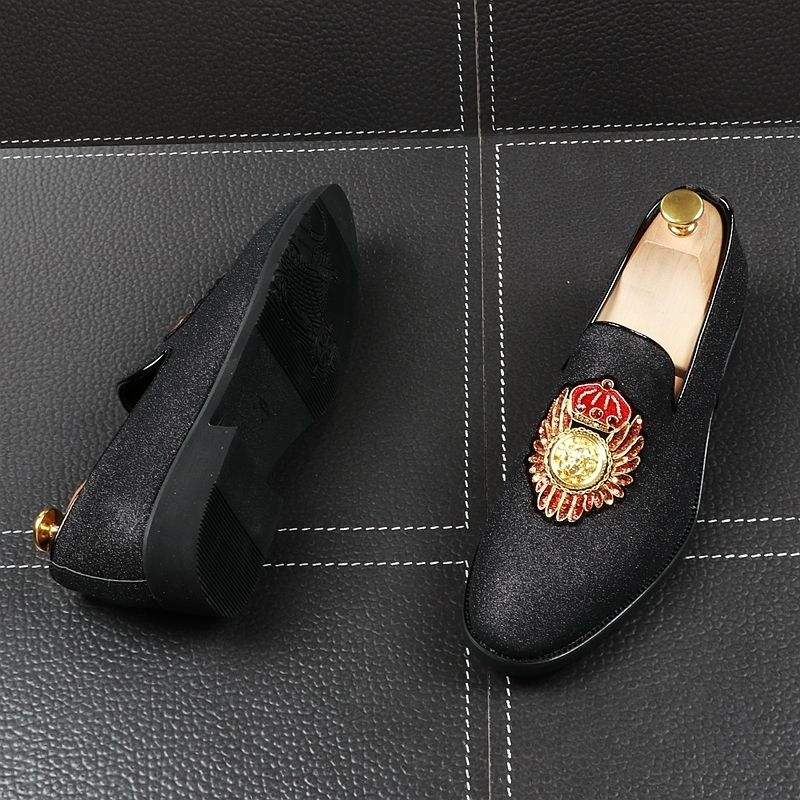 Memorable2019 Man Sharp Set Foot Dawdler Shoe England Small Leather Paillette Rhinestone Hairstyle Designer Shoes Within Increase
